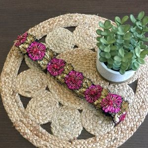 Anthropologie Beaded Elastic Floral Belt